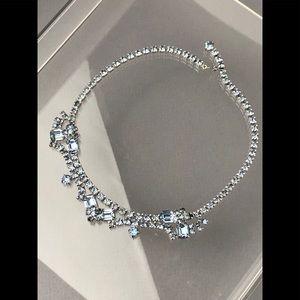 "Jewelry - VTG ""BABY BLUE"" RHODIUM PLATED CRYSTAL 2 PIECE SET"
